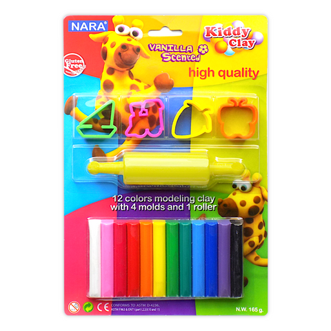 Nara Modeling Clay 12 Assorted Colors 165 g + 4 Mini Molds + 1 Roller