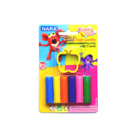 Nara Modeling Clay 6 Assorted Colors 50 g + 1 Mold