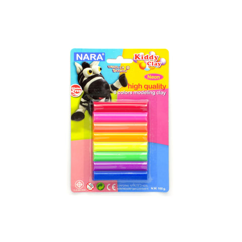 Nara Modeling Clay 8 Assorted Neon Colors 100 g