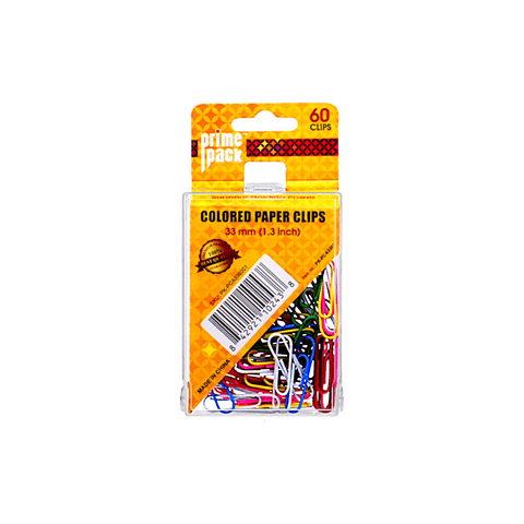 Primepack Colored Paper Clip Box of 60