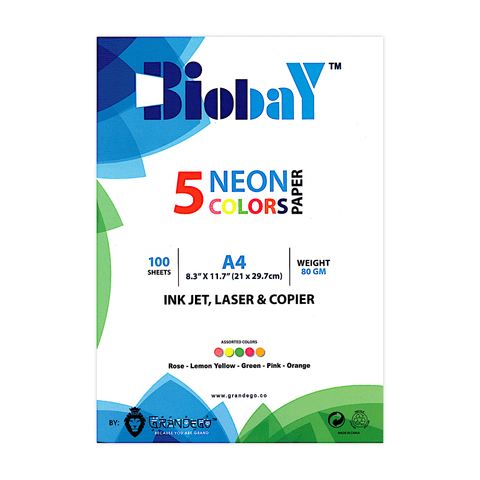 Biobay Colored Copy Printer Paper A4 Pack of 5 Colors
