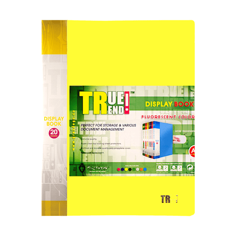 True Trend Display Book 20 Fixed Pocket Fluorescent Colors A4