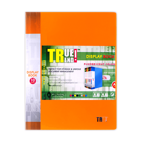 True Trend Display Book 10 Fixed Pocket Fluorescent Colors A4