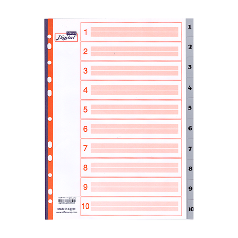 Digital Multi-Tab Numerical Index Dividers