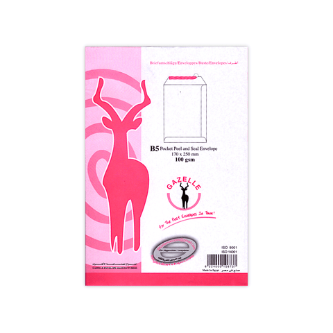 Gazelle Peel & Seal Envelope 100 gsm White B5 Pocket