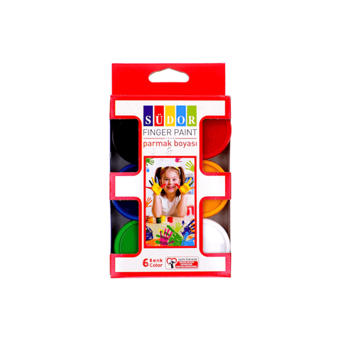 Sudor Finger Paint Set of 6 Jars Assorted Colors
