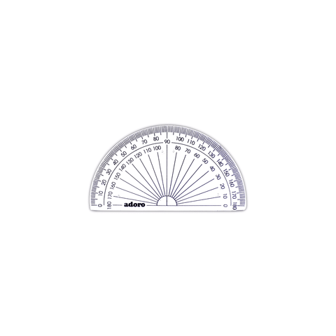 Adoro Plastic Math Protractor 10 cm Clear
