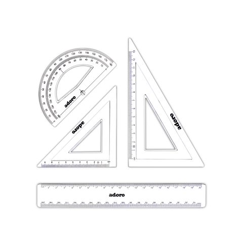 Adoro Geometry Drawing Set 3 Pcs + 20 cm Ruler Clear