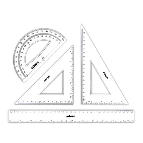 Adoro Geometry Drawing Set 3 Pcs + 30 cm Ruler Clear