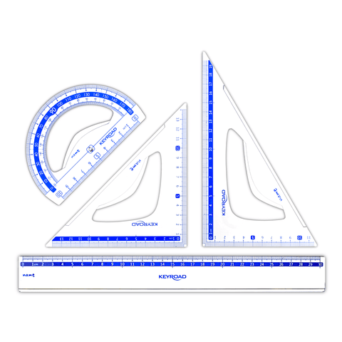 Keyroad Geometry Drawing Set Blue Scale 3 Pcs + 30 cm Ruler