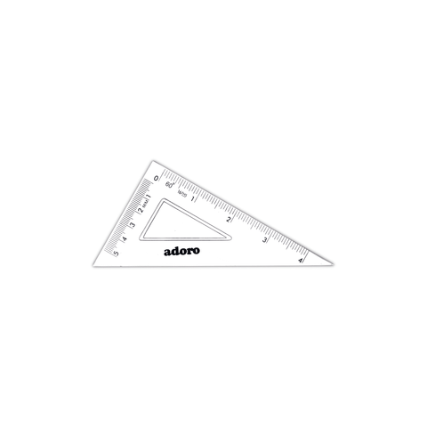 "Adoro Plastic Triangle Ruler 60° Set Square 4""/5 cm"
