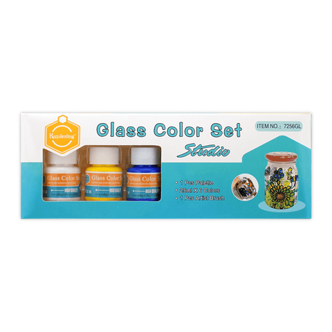 Keep Smiling Glass Color Paint Set of 6 + Free Brush