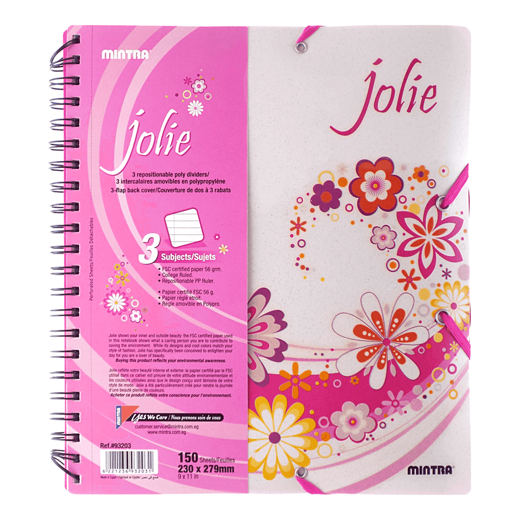 Mintra Jolie Spiral Notebook 3 Subjects 150 Sheets Quarto