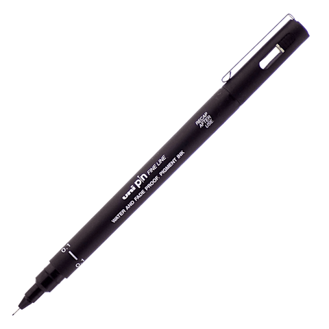 Uni Pin Drawing Fineliner Pen Assorted Tip Sizes Black