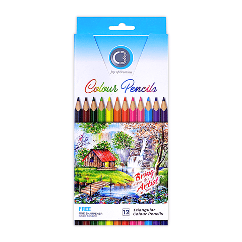 C3 Triangular Colored Pencils Box of 12 + Free Sharpener