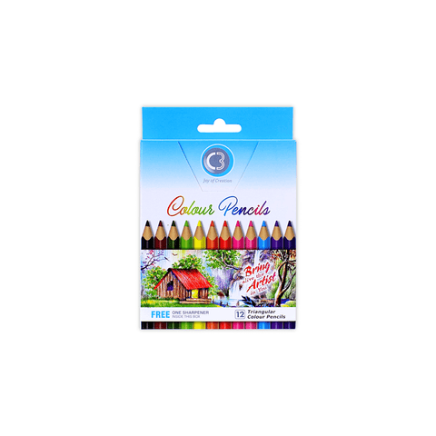 C3 Triangular Short Colored Pencils Box of 12 + Free Sharpener