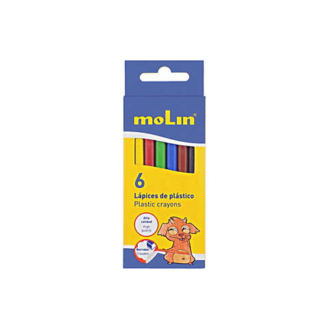 Molin Plastic Coloring Crayons Box of 6