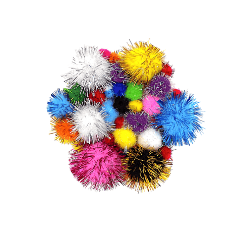 Deligao Colored Glitter Tinsel Sparkle Pompoms