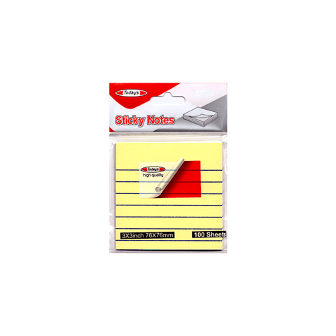 "Today's Lined Sticky Note Pad 3"" x  3"" 100 Sheets"