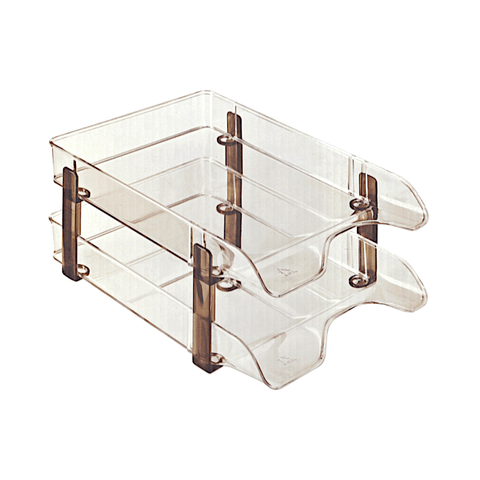 Ark Stackable Document Tray Transparent A4 Set of 2