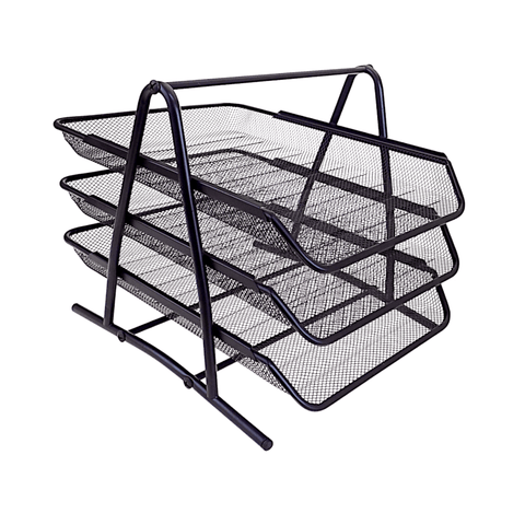 Generic 3-Tier Mesh Steel File Tray Black