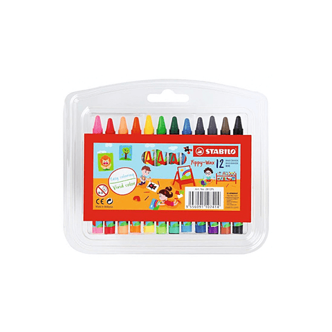 Stabilo Wax Crayons 90 mm Wallet of 12