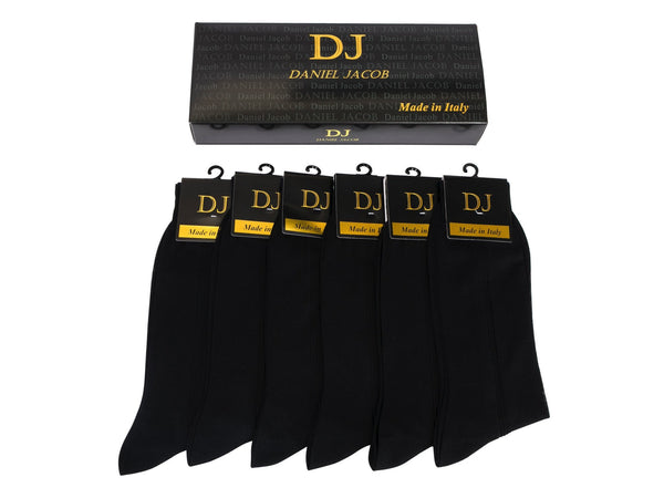 6 100% Mercerized Cotton Knee High Socks in  Gift Box Black