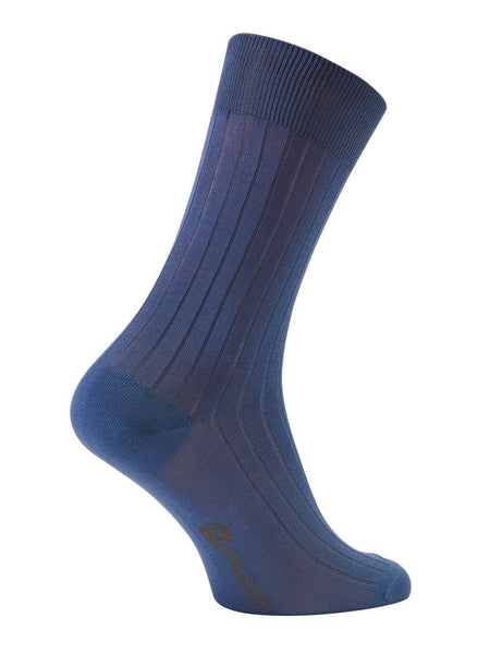 100% Mercerized Cotton Socks  Stripe Design Mid Calf Socks -Ocean Colour