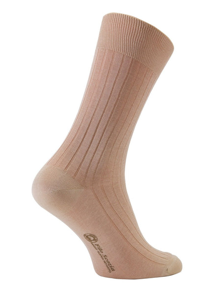 100% Mercerized Cotton Socks  Stripe Design Mid Calf Socks -Sand Colour