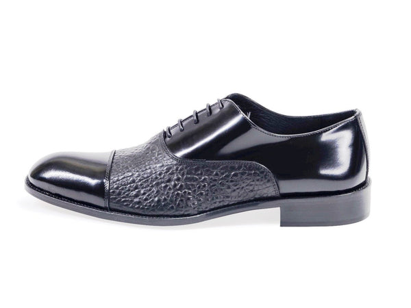 All leather.Two Material Oxford Shoes.Black