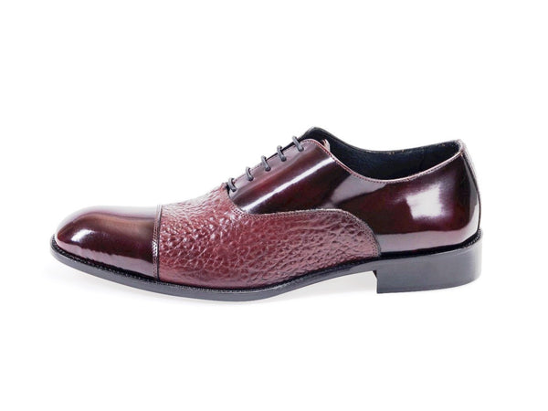 All leather.Two Material Oxford Shoes -Burgendy