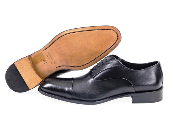 All leather.Smooth Calf Oxford Shoes -Black