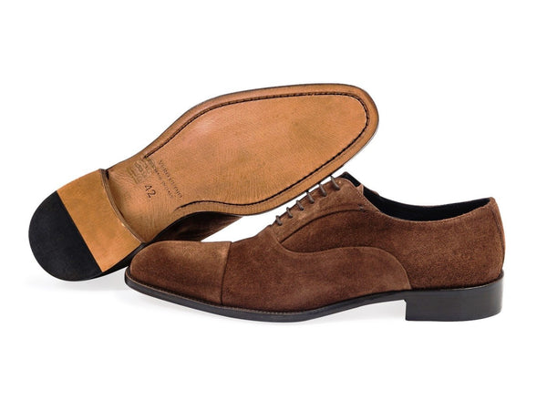 670e870fb58160 Suede Oxford Brown Shoes. Leather Sole.