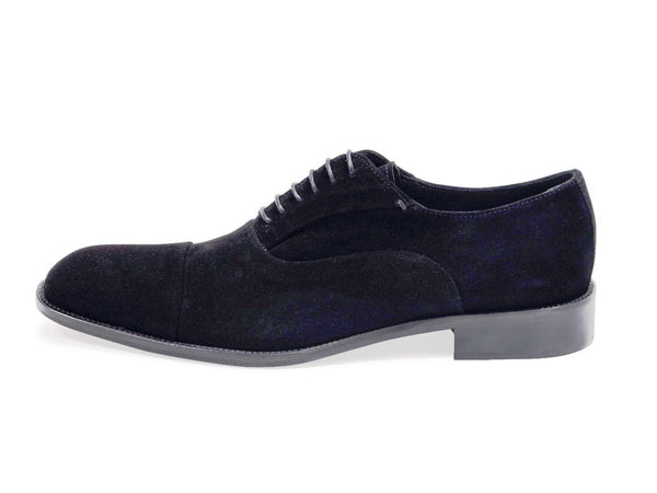 Suede Oxford Black Shoes. Leather Sole.