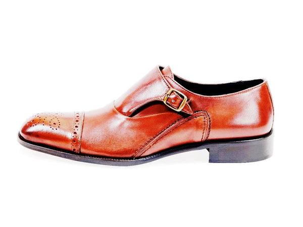 All Leather Derby Mono Buckle Shoes.Brown