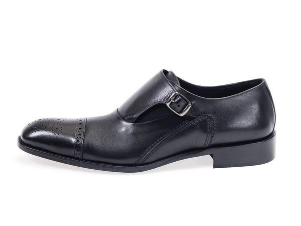 All Leather Derby Mono Buckle Shoes.Black