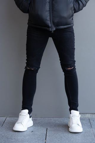 Skinny Black Ripped Denim