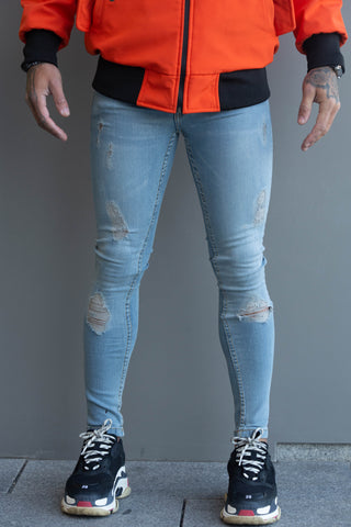 Blue Ripped & Repaired Denim