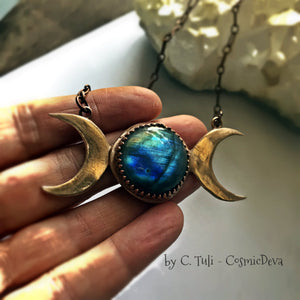 TRIPLE MOON GODDESS BLUE LABRADORITE BRONZE NECKLACE