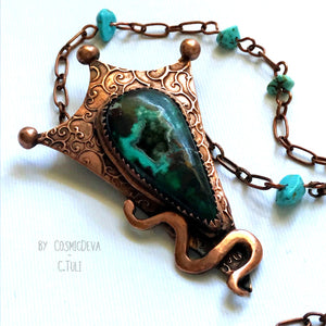 BOTRYOIDAL CHRYSOCOLLA COPPER SNAKE PENDANT NECKLACE
