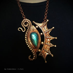 The Eye Of The Dragon Bronze Necklace Pendant With Flashy Labradorite - CosmicDeva