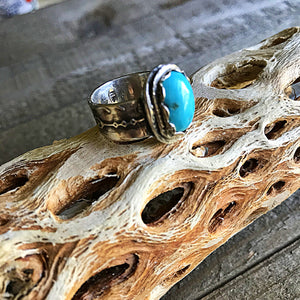 Sleeping Beauty Turquoise Sterling Silver US Size 7 Ring - CosmicDeva