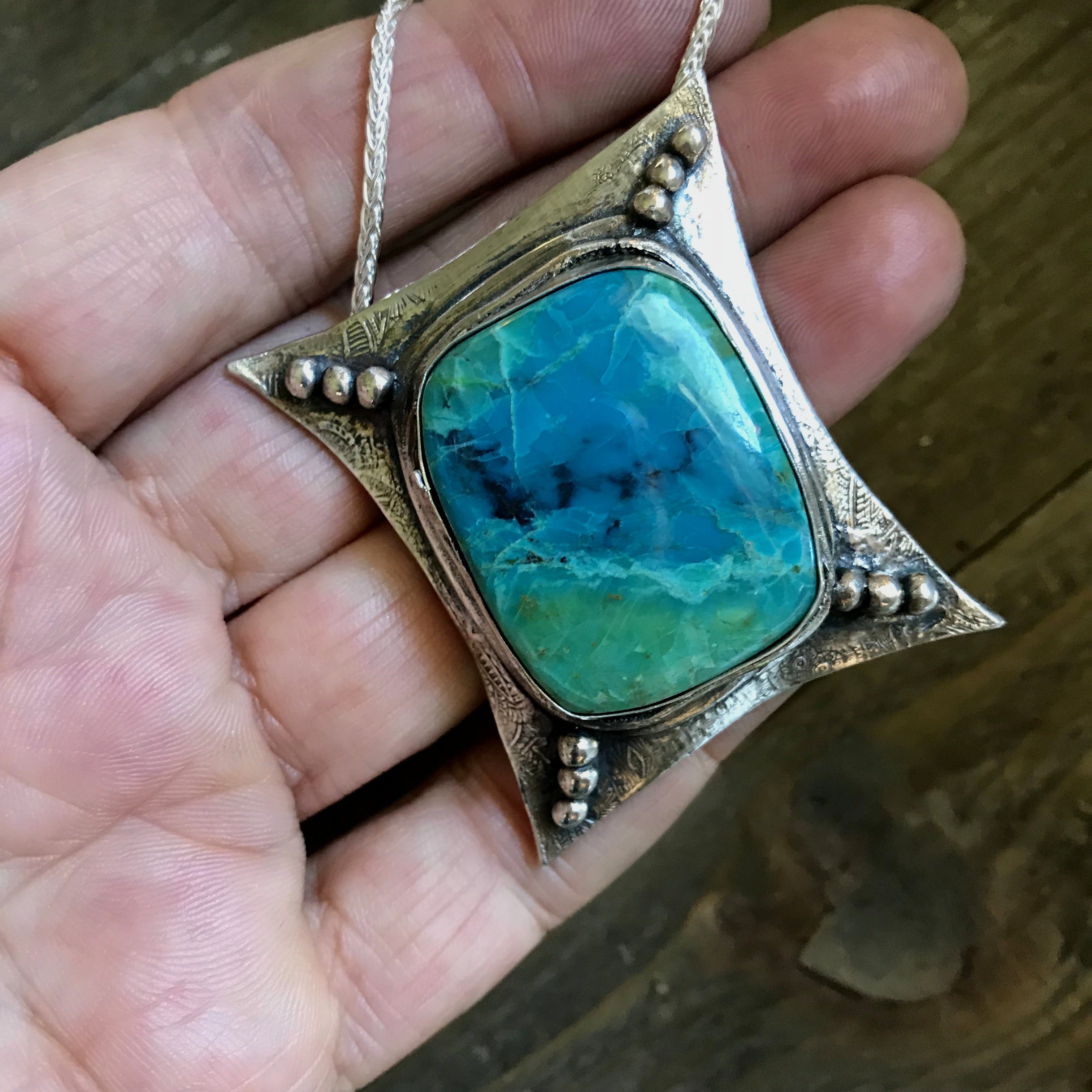 Sterling Silver Pendant Chrysocolla Necklace - Handcrafted - CosmicDeva