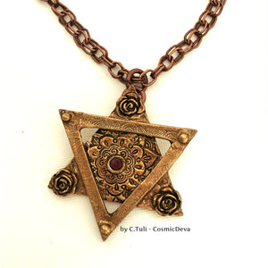 Star of David Garnet Necklace, Magen David Pendant, Bat Mitzvah Necklace - CosmicDeva