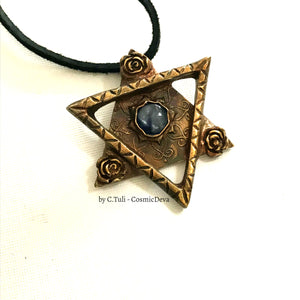Star of David Necklace, Blue Kyanite Star of David, Bronze - CosmicDeva