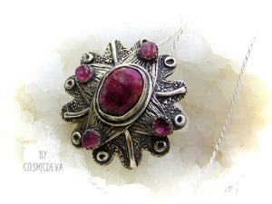 Blood Ruby With Pink Tourmaline Fine Silver Flower Necklace Pendant - CosmicDeva