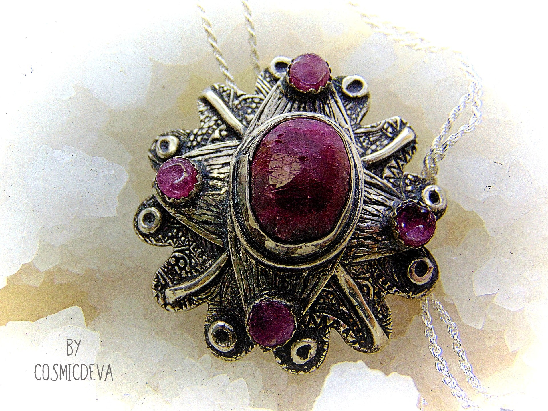Blood Ruby With Pink Tourmaline Fine Silver Flower Necklace Pendant