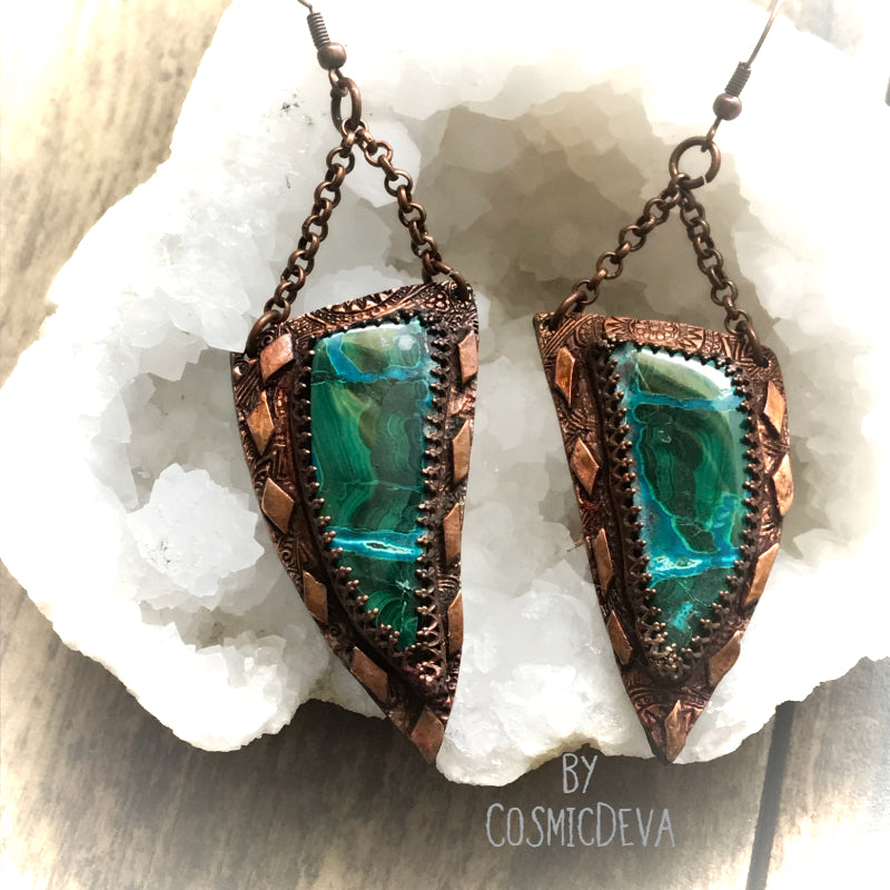 Malachite Chrysocolla One Of A Kind Copper Dangle Earrings, - CosmicDeva