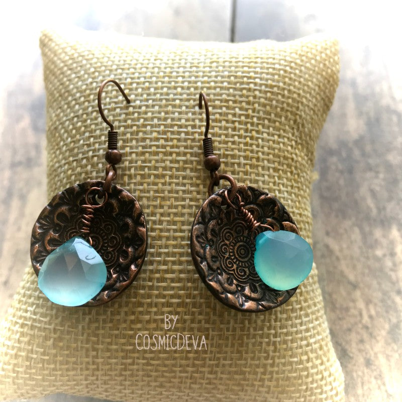 Aqua Blue Chalcedony Briolette Floral Copper Mandala Dangle Earrings - CosmicDeva