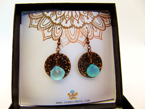 Aqua Blue Chalcedony Briolette Floral Copper Mandala Dangle Earrings